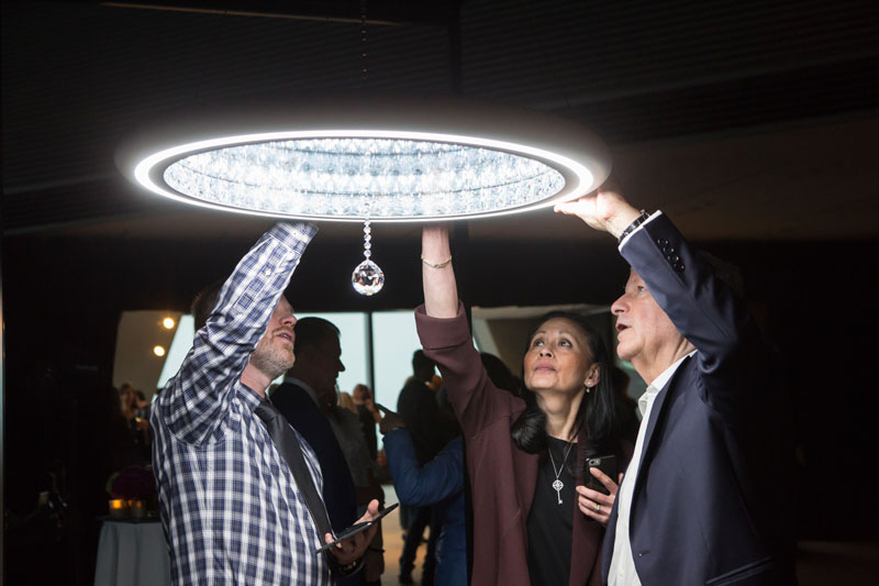 Guests were invited to be hands-on when interacting with Swarovski Lighting's Infinite Aura collection.