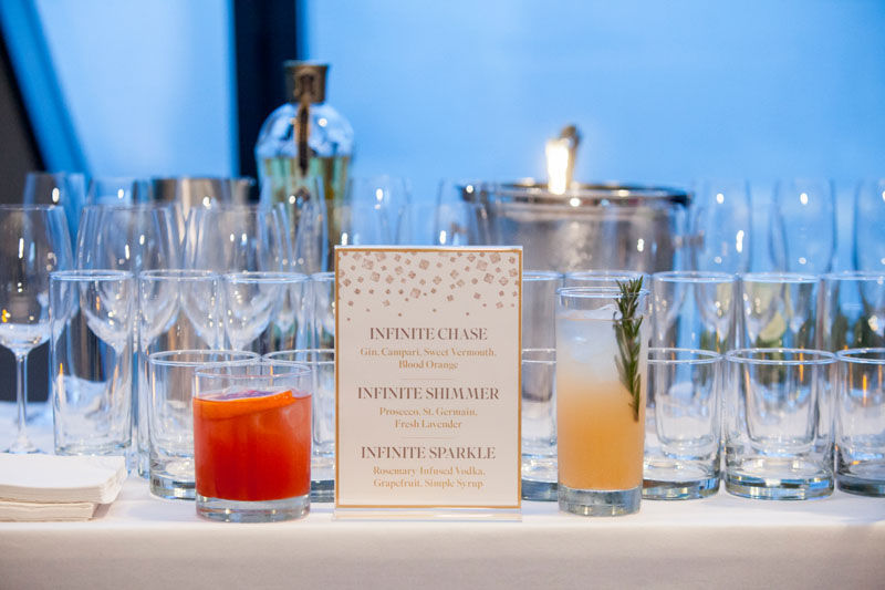 Signature cocktails were inspired by Swarovski Lighting's Infinite Aura collection.