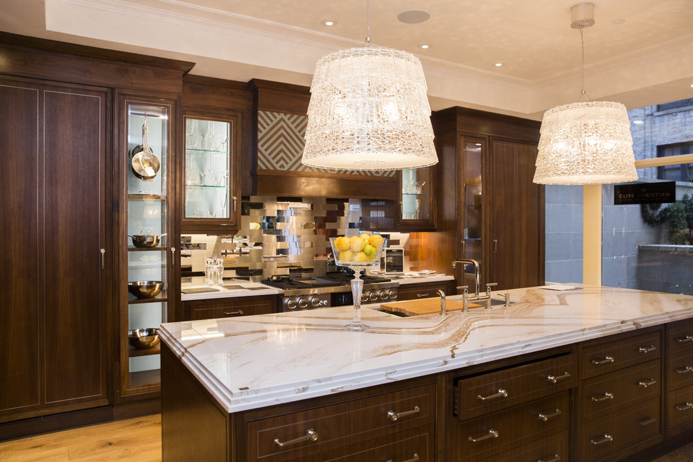 Clive Christian designed kitchen with Kohler finishes