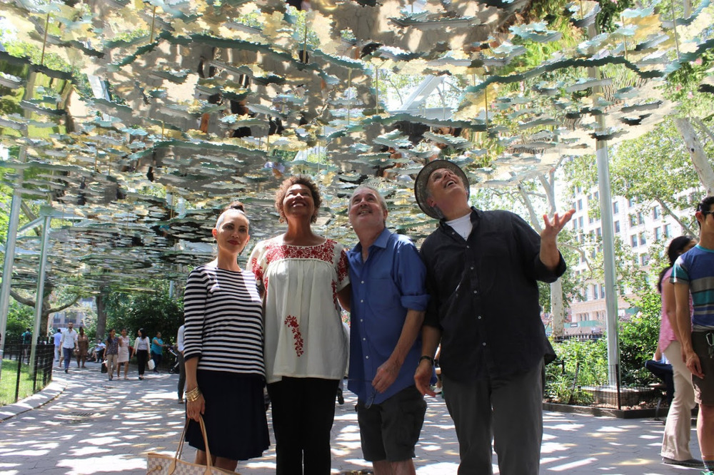 Throwback Thursday: Art Practice guest  Teresita Fernández  on site to speak about her installation at Madison Square Park with faculty members  Carrie Mae Weems ,  Tim Rollins  and  David A. Ross.