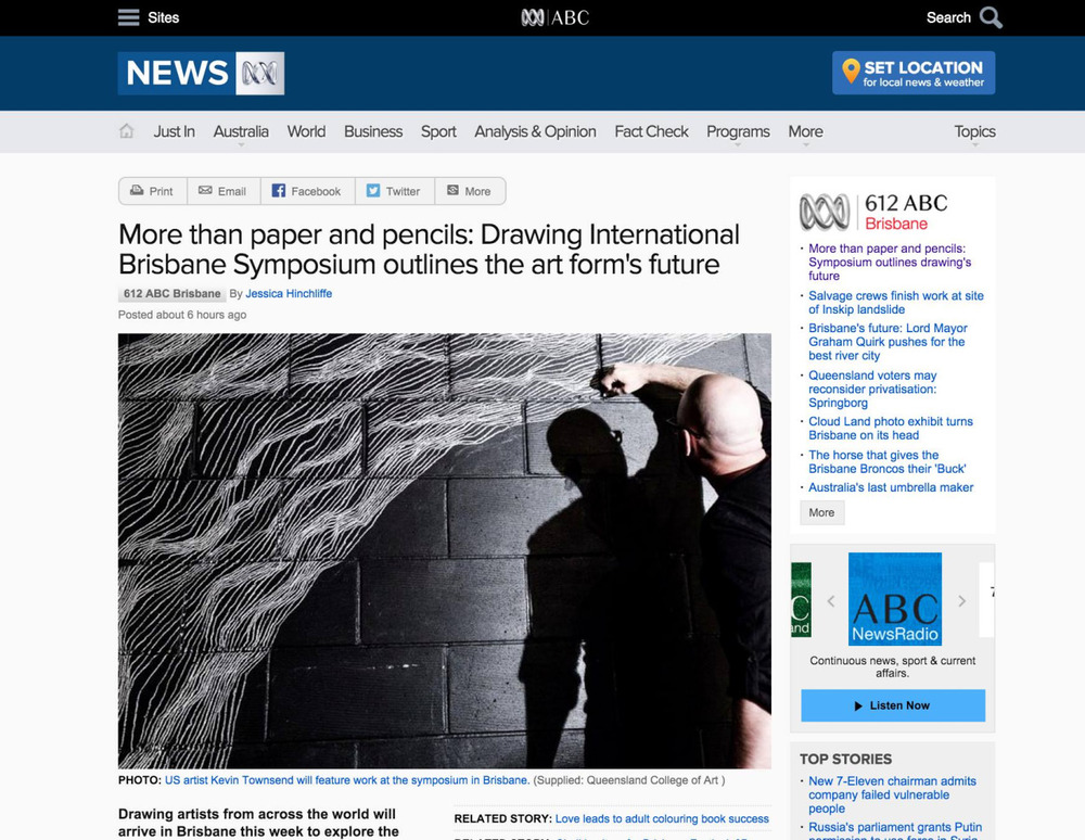 ABC Australia has taken note of our very own  Kevin Townsend's (AP 16)  work in the  Drawing International Brisbane Symposium .