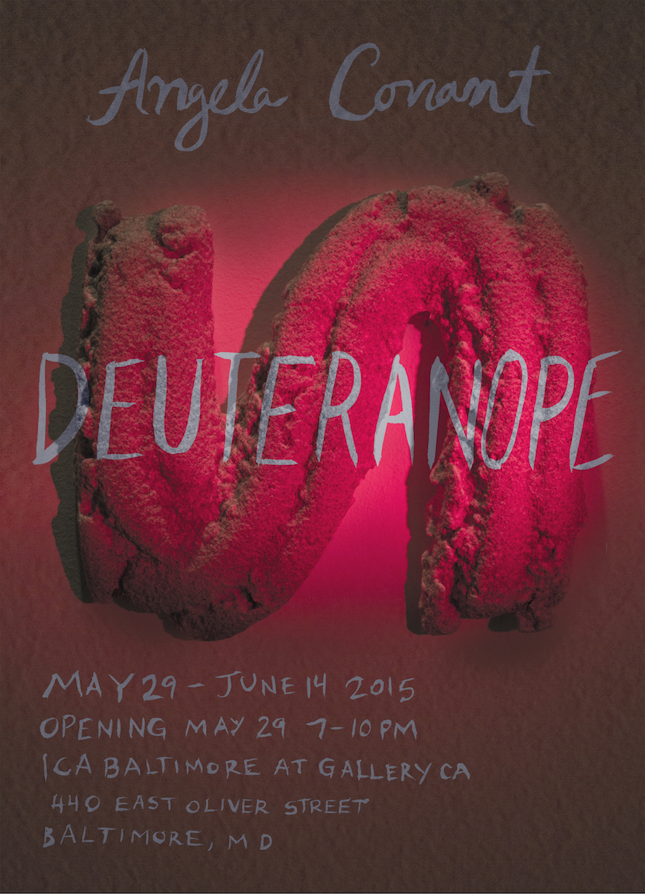 Angela Conant  (MFA AP13) will present Deuteranope, a multi-media exhibition of painting, projection, sculpture, and installation at ICA Baltimore in Gallery CA from May 29th until June 14th 2014. The opening reception will be held on Friday, May 28th from 7-10pm.  Works will be arranged according to their meaning in relationship to dark and light, inner and outer, consciousness and unconsciousness.