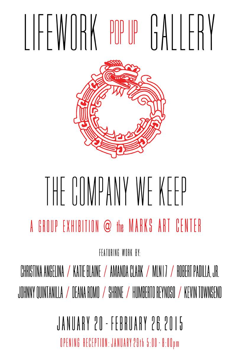 """The Company We Keep""an exhibition by Marnie Navarro's (MFA AP16) LIFEWORK Gallery showing in Marks ArtCenter will include the work of fellow Art Practice member Kevin Townshend (MFA AP16). Keep up to date with  LIFEWORK Gallery"