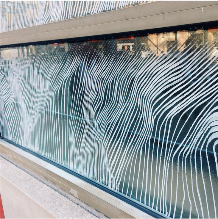 Check out work by  Kevin Townsend  (MFA AP16) on the windows of the YMCA between 6th and 7th avenue on 14th Street for  art in odd places ! Work by Kevin has popped up all around 14th street for the past week.