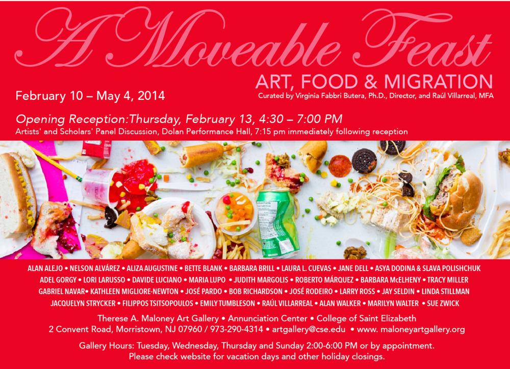 "Jacquelyn Strycker (AP Staff) has work included in ""A Moveable Feast: Art, Food & Migration"" at The Therese A. Maloney Art Gallery. The show runs through May 4th."