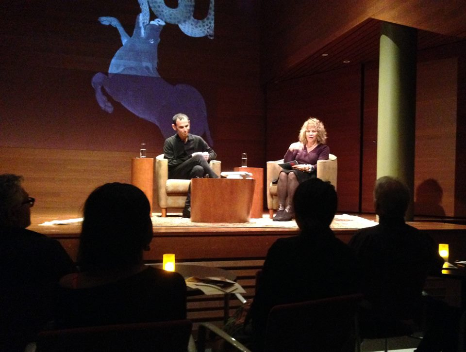 An image of Ernesto Pujol (AP Faculty) in conversation with Carol Becker at the Rubin Museum