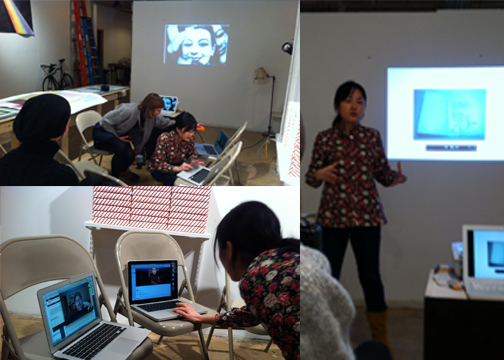Participants from the  MFA Art Practice Class of 2013  engage in a mid-semester critique, some in person, and some joining via Skype.