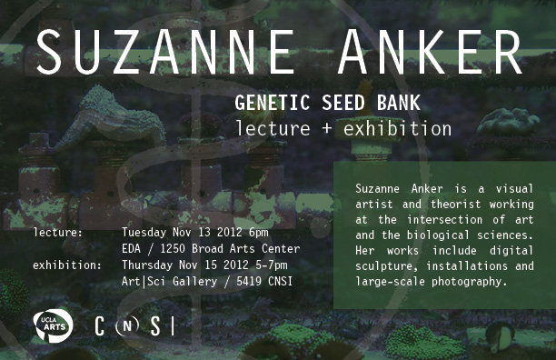 "BFA Fine Arts Chair and Art Practice Faculty member Suzanne Anker has an exhibition and related lecture  ""Genetic Seed Bank""  at UCLA's Broad Art Center. The lecture takes place this evening at 6pm, and the exhibition opens on Thursday at 5pm."