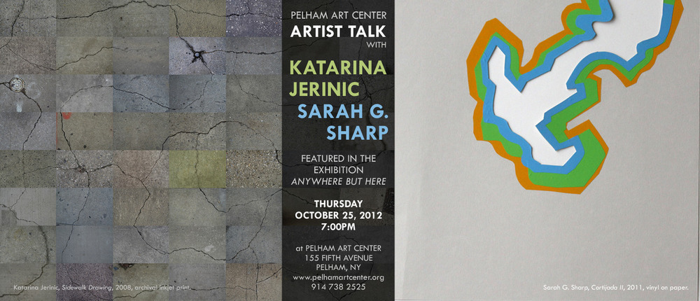 Artist talk with Katarina Jerinic and Art Practice faculty member Sarah G. Sharp at the  Pelham Art Center  this Thursday, October 25