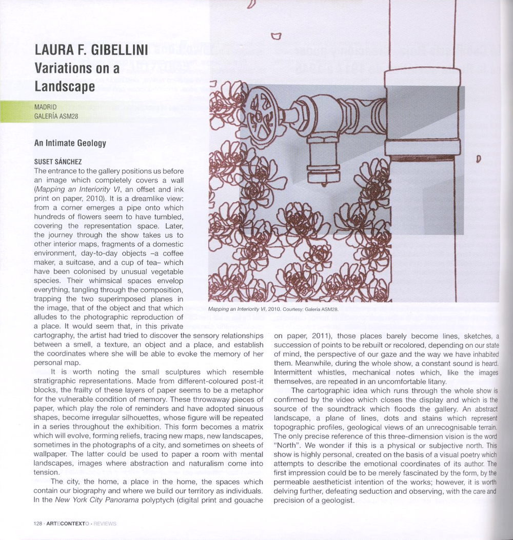 Review of AP Faculty Member  Laura F. Gibellini's  recent show,   Variations on a Landscape   in the Spanish journal   Artecontexto  .