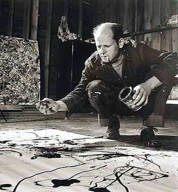 Jackson Pollock in his studio. Martha Rosler writes for e-flux journal about art and urbanism.  Rosler is a visiting artist for the MFA Art Practice program.