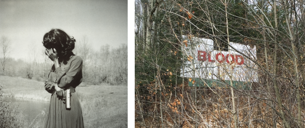 Left image: Marianna Rothen, Untitled #2, In Despair, 2011, photograph. Courtesy of Steven Kasher Gallery. Right image: Mike Osterhout, Blood, 2016, mixed media on found object. Photograph by Samm Kunce.