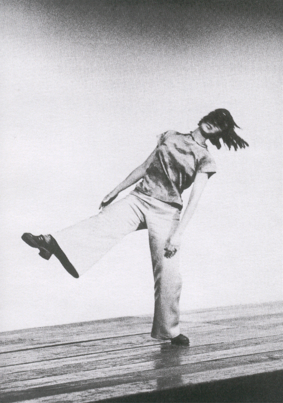 Yvonne Rainer performing Trio A at the Portland Center for Visual Arts in 1973. Courtesy of Yvonne Rainer. Photographer unknown.