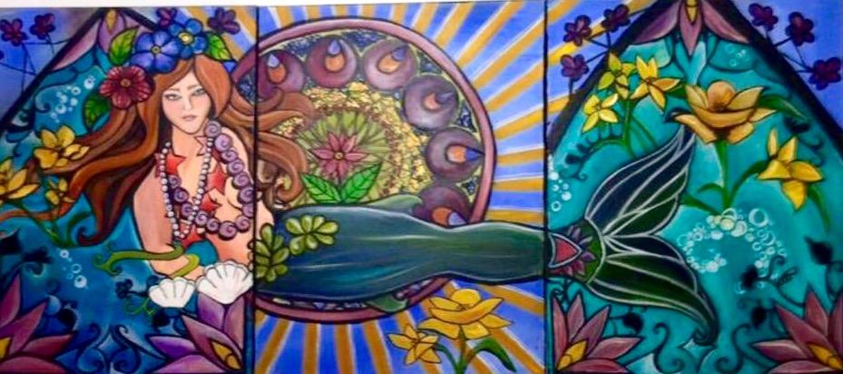 Art Deco Mermaid. Triptych, each panel 24_ x 18_. Oil on Canvas. .jpg