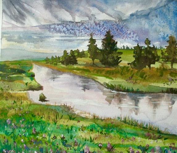 At the Riverbank. 18_ x 24_. Watercolor. .jpg