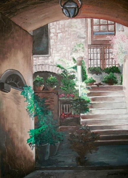 Italian Alleyway. 18_ x 24_. Oil on Canvas. .jpg