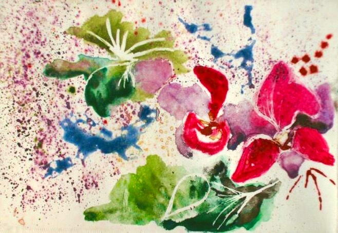 Abstracted Floral I. 4_ x 8_. Watercolor Monoprint.  10-40-16.jpg