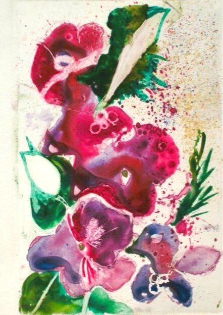 Abstracted Floral II. 4_ x 8_ Watercolor Monoprint. 10-40-16.jpg
