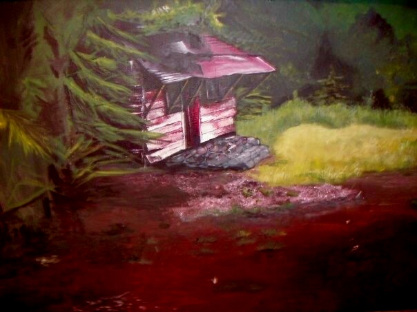 Cabin in the Woods. 24_ x 36_. Acrylic on Canvas..jpg