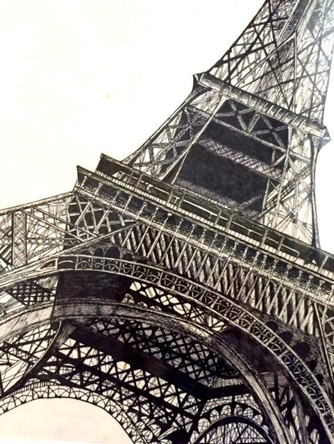 Eiffel Tower. 11_ x 14_. Ink on paper. .jpg