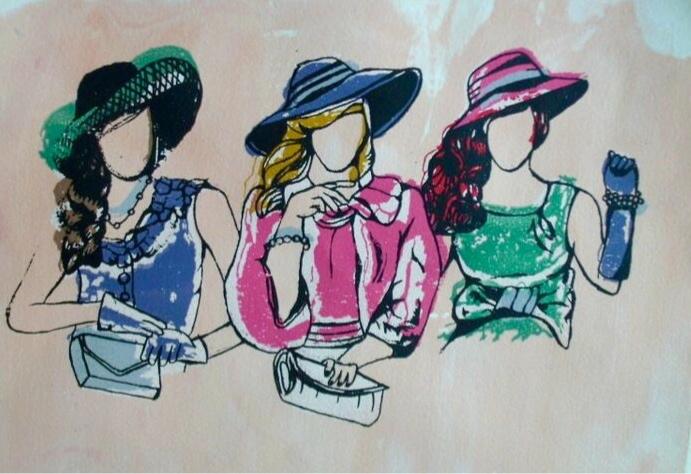 Ladies who Lunch. 9_ x 12_. Silkscreen..jpg