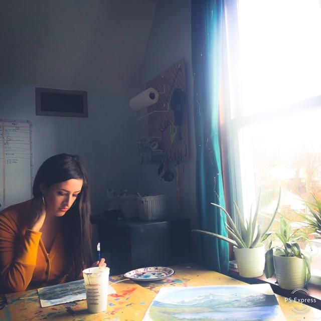 Artist and SASLLC owner Samantha Silvas working in her Pittsburgh art studio.