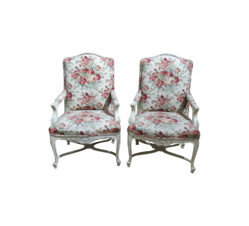 Pair Louis XVI Style Distressed Painted Fauteuils — Vintage Modern ...