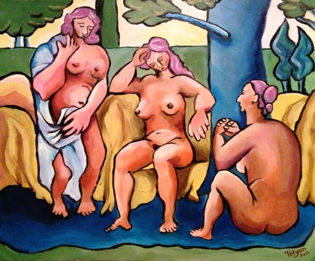 "Nudes, Picasso style  Oil on canvas   16"" x 20"""