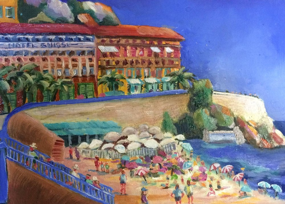 "The Promenade, Nice    Oil    8"" x 12"""