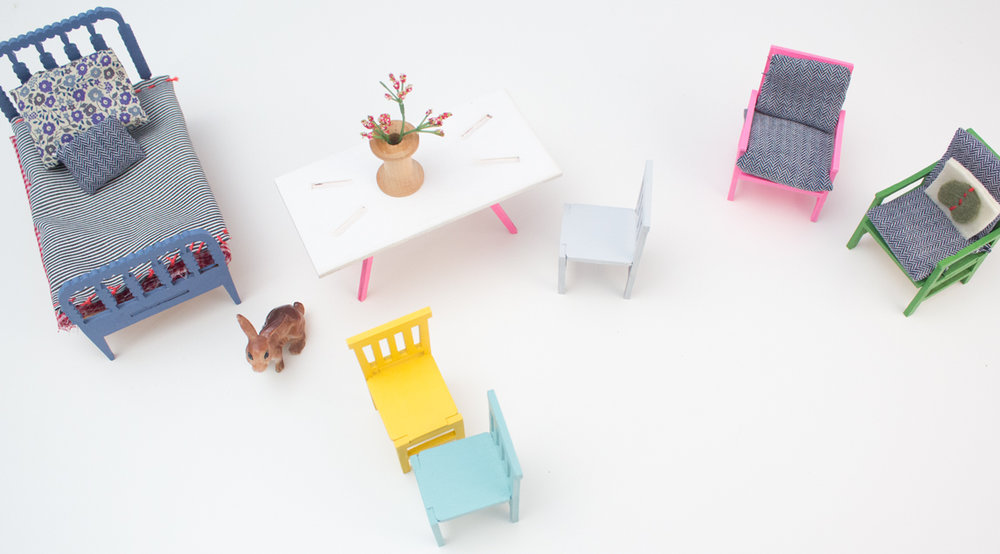 mini modern diy furniture - My exploration of creating a children's toy that teaches them about furniture, making and design.