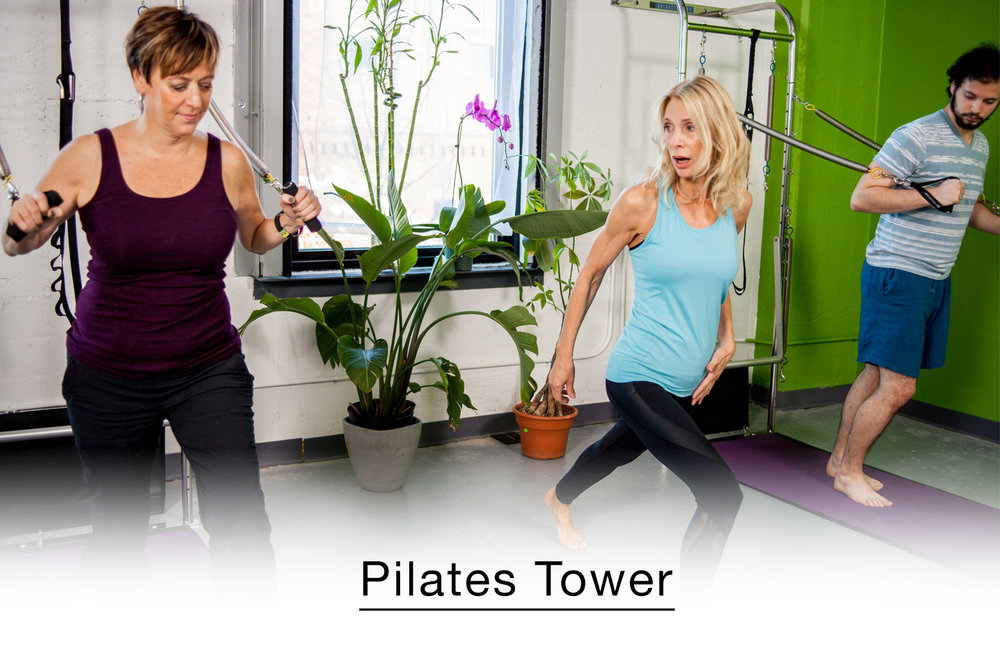 The Pilates Tower workout helps build long, lean musculature and increases range of motion and unilateral movement by utilizing springs, push through bar, and pull down bar. A perfect option for beginners and students of all ages and experiences.  Build strength, flexibility, and muscular endurance. Check out our  schedule page  to see when the next class is!