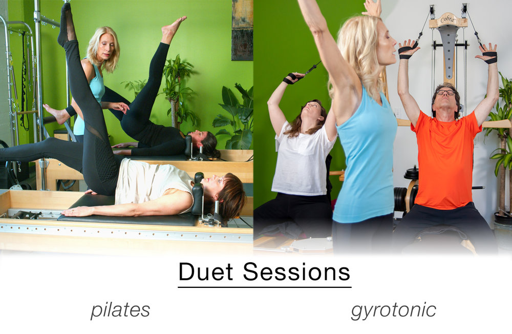 Duets are a great way to combine the feedback of a private with the economy of a class. Paired with a friend or partner, Duets are fun, inspiring, and a great way to get in shape! Duets are available for Pilates, Gyro, TRX, and Alexander Technique. Check out our  schedule page  to sign up for a session!