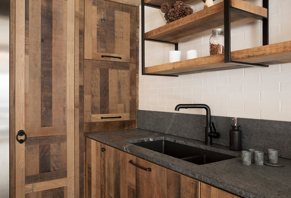 Reclaimed Wood Cabinets with Unoiled Soapstone