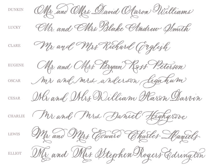 wedding envelope calligraphy styles