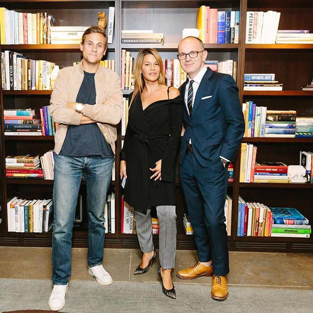 Simon Collins with FCD Salon speakers, @jennelombardo (Co-founder of MADE and founder of The Terminal Presents) and @matthewscanlan (Co-founder and CEO of @naadam.co) 📸 @yvonnetnt