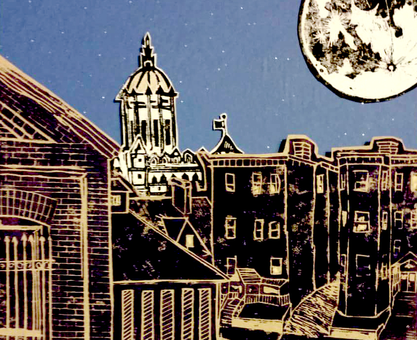 Night in Frog Hollow – Linocut by Josh Michtom (resident)