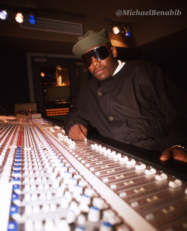 Kool Moe Dee at mixing board celebrity hip hop photography by Michael Benabib