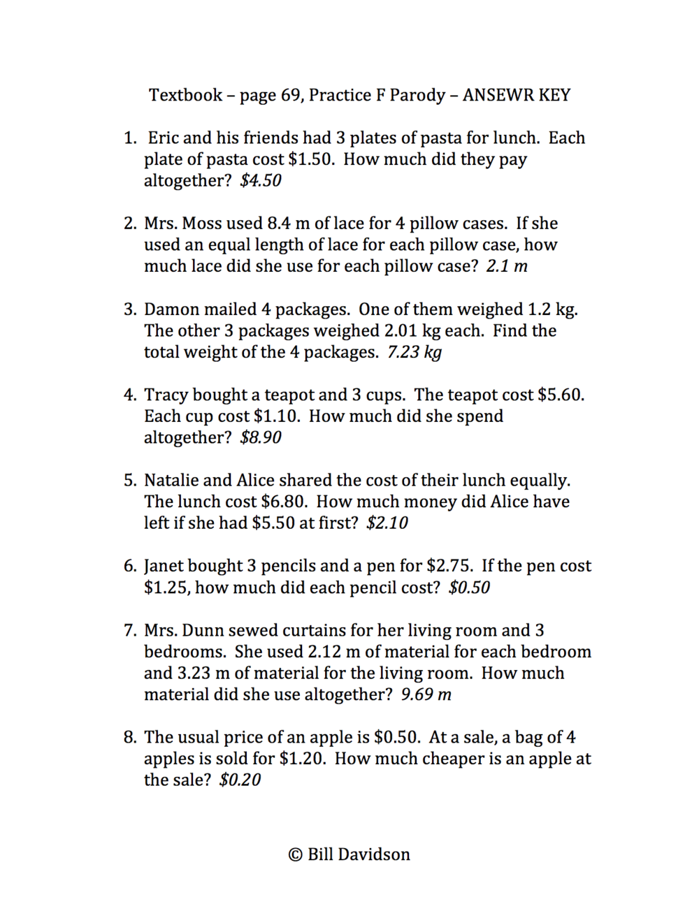 Operations With Decimals Word Problems Yourhelpfulelf – Operations with Decimals Worksheets