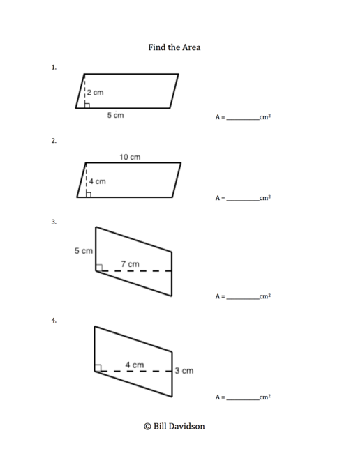 Area and perimeter of parallelograms worksheets free