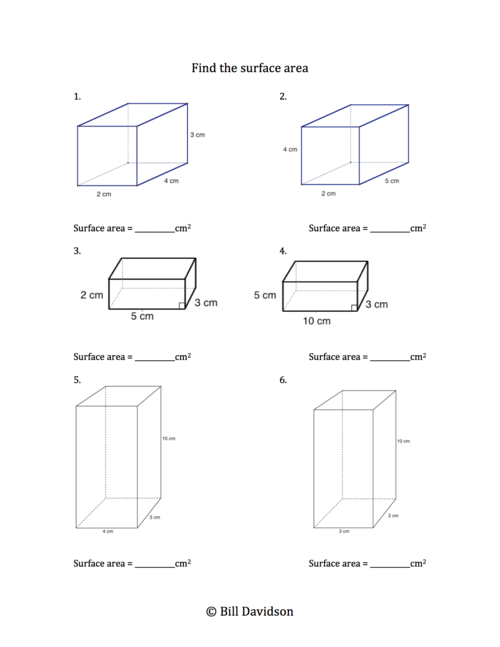 Remedial Surface Area Worksheet The Davidson Group – Surface Area Worksheet