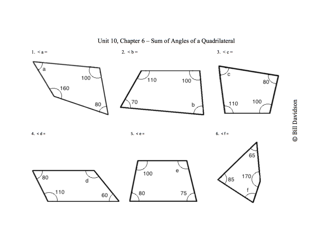 Sum of Angles in a Quadrilateral Worksheet — The Davidson