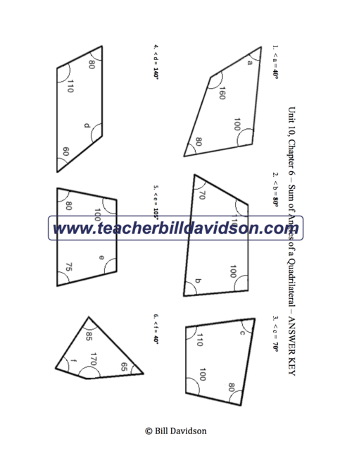 Sum Of Angles In A Quadrilateral Worksheet The Davidson Group