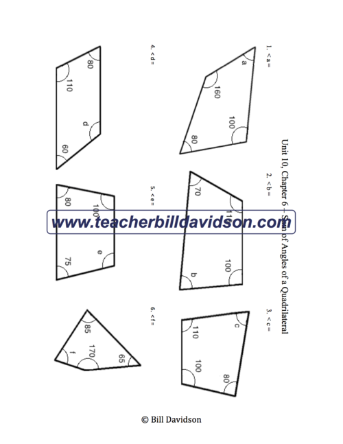 Sum of Angles in a Quadrilateral Worksheet — The Davidson Group