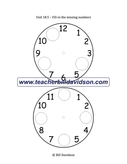 Missing Numbers on a Clock Worksheet The Davidson Group – Missing Numbers Worksheet