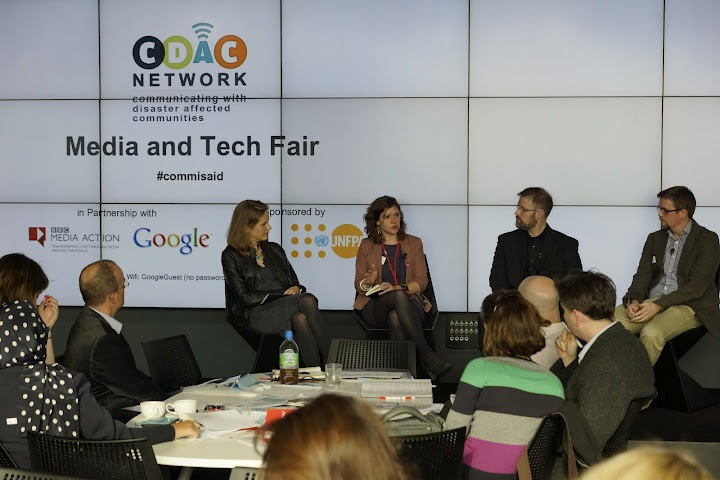 FrontlineSMS Director of Operations, Laura Walker Hudson (center-left) on a panel at the Media and Tech Fair. Photo credit: Craig Tucker, CDAC Network