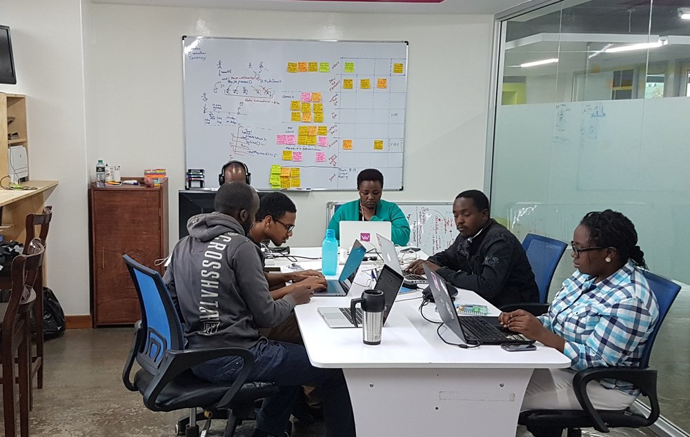 Some of the Frontline team members at work in our Nairobi office