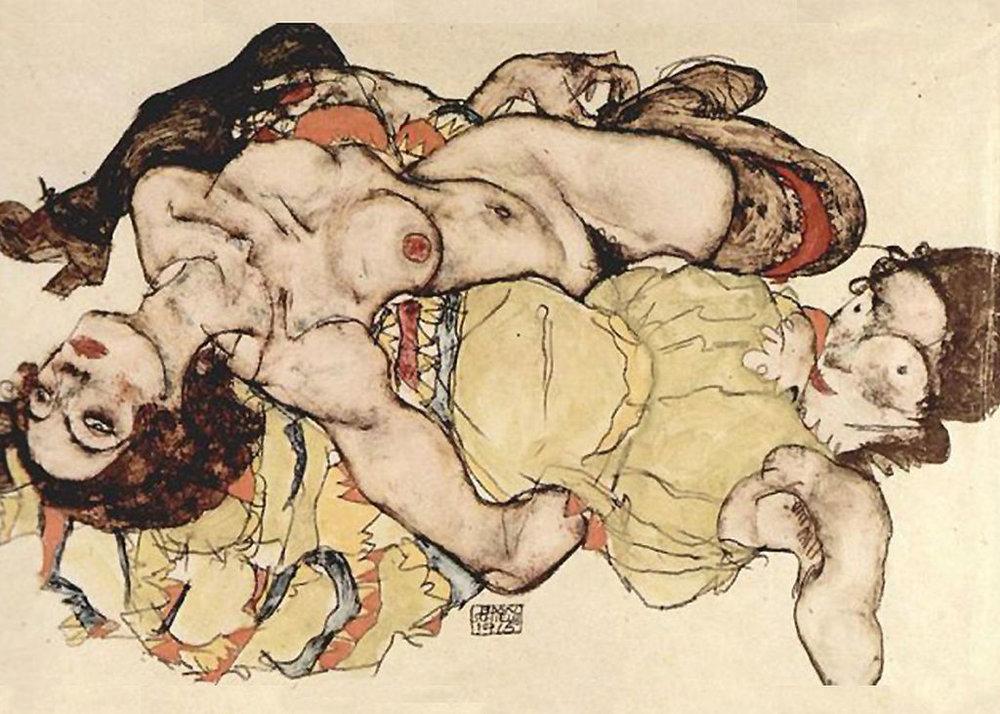 Egon Schiele,  Two Women , 1915.