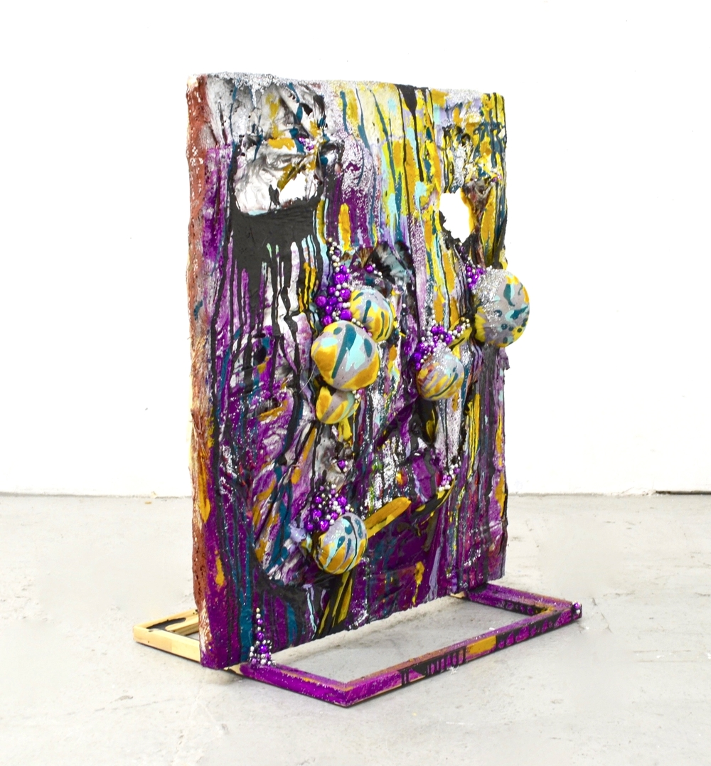 "2015,  Don't Need No Walls   Free-standing painting that stands 36"" tall and uses readymade stretchers as a supportive base. Spray paint, house paint, acrylic paint, glitter, lace, curtains and beads."