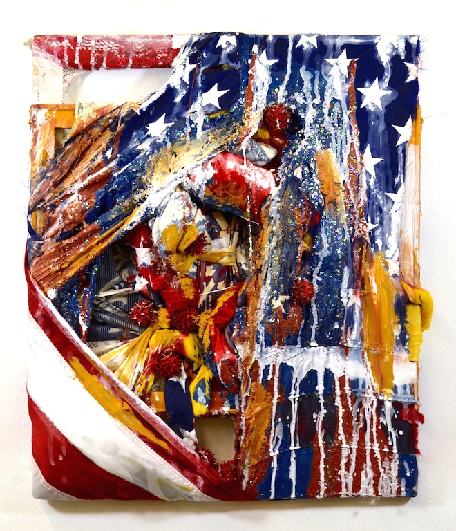 "2015,  American Dream   24""x18"". American flag, glitter, gumball seeds, money, damask-patterned upholstery, Toile de Jouy-patterned fabric, acrylic paint."