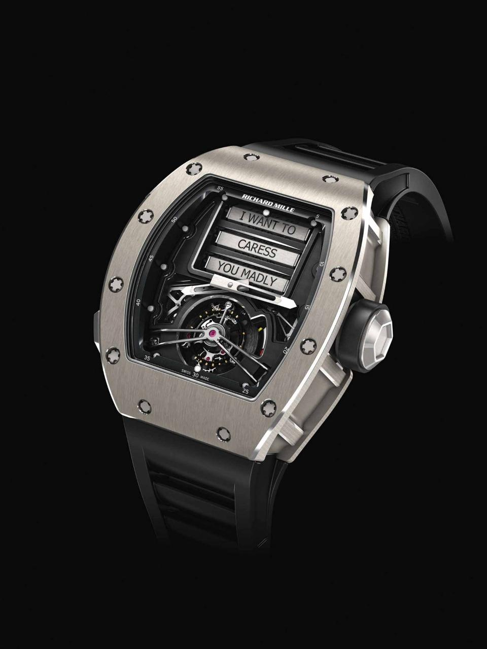 Richard Mille RM 69 Erotic Tourbillon features turning barrels with phrases on them.
